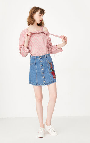 2019 ONLY women's summer new single-breasted A-line denim skirt   117337525