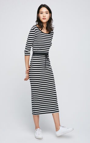 ONLY 2019 Spring Striped Round Neckline Lace-up Cinched Waist Dress |117161511