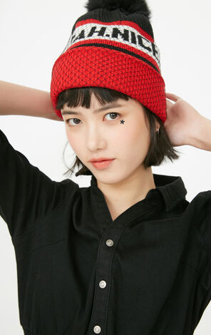 ONLY2019 Women's Winter Mink Hair Pom-pom Letter Print Knitted Hat |11746F502