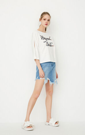 ONLY spring New Women's Loose Fit Off-the-shoulder 3/4 Sleeves T-shirt|117230514