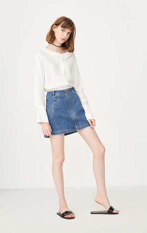 ONLY summer new metal A-line denim high waist skirt female 117337523