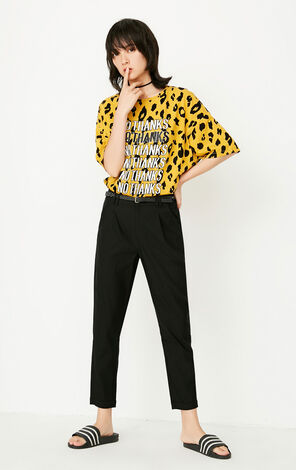 ONLY 2019 Women's Summer Letter & Leopard Print Loose Fit T-shirt |117301563
