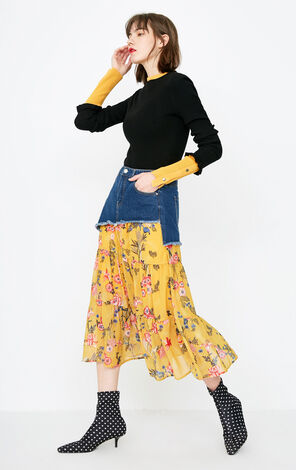 ONLY 2018 Summer Faux Two-piece Floral Denim Skirt |118137528