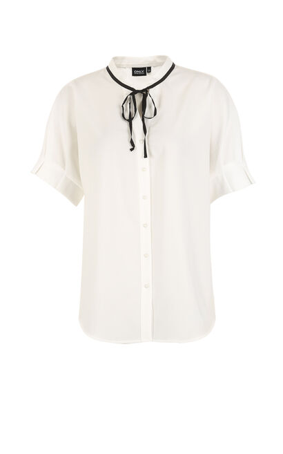 ONLY summer New Women's Loose Fit Heart-shaped Buttons Shirt|117204501, White, large