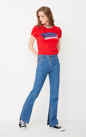 ONLY Spring New Women's 100% Cotton Metal Zip Straight Fit Jeans 117232512