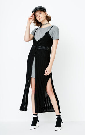 ONLY Summer Two-piece Knitted Slip Dress|118146534