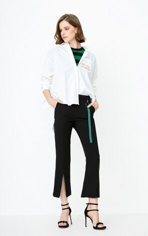 ONLY winter new slit hem flared cropped casual pants | 11816J552