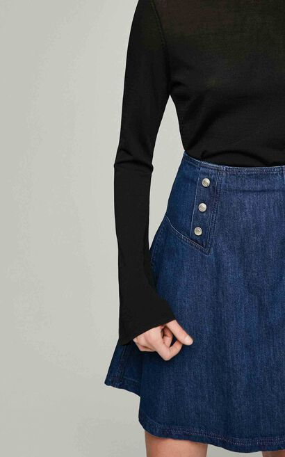 ONLY Women's Autumn High-rise A-lined Denim Skirt|117237501, Blue, large