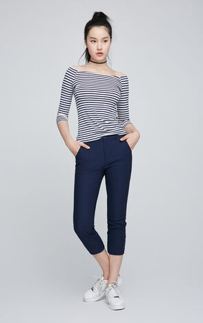 ONLY Women's Spring Off-the-shoulder Elbow Sleeves Slim Fit Striped T-shirt 117130538