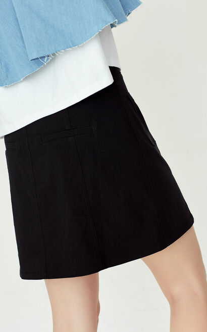 ONLY summer New Single-breasted Pockets Skirt|117216513, Black, large