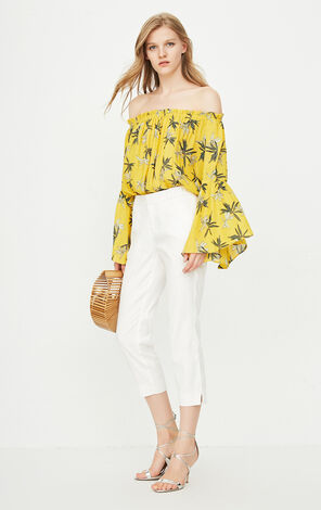ONLY Summer Women's Boat Neck Flared Sleeved Floral Chiffon Shirt|118241510