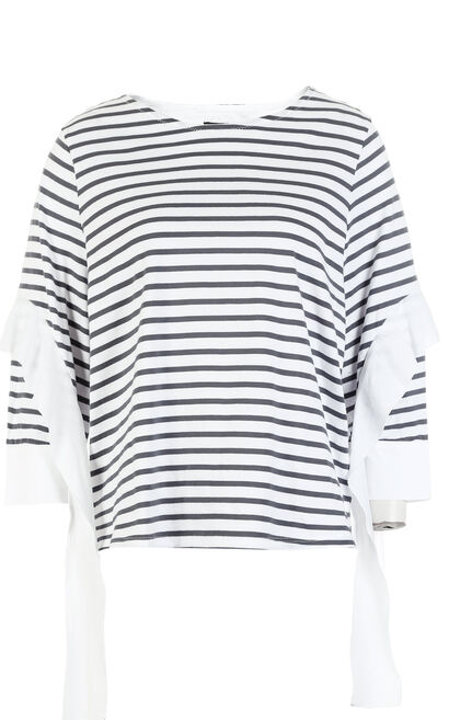 ONLY2019 women's summer new three-quarter sleeve black and white striped t-shirt loose | 118130522, Black, large