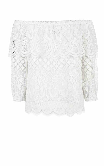 ONLY spring New Women's Laced Boat Neck Off-the-shoulder Elbow Sleeves Tops|117230509, White, large