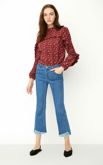 ONLY Winter Women's 100% Cotton Loose Fit Ruffled Long-sleeved Shirt|117451501, Mahogany, large