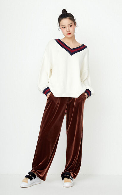 ONLY Women's Autumn Low-high Knit Pullover |117313520, White, large