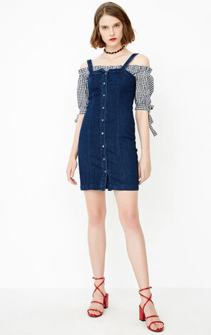 ONLY Summer Off-the-shoulder Two-piece Denim Dress|118142529