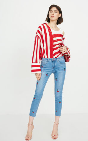 ONLY2019 women's summer new embroidered low waist cropped jeans | 11816I519