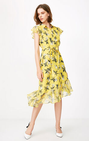 ONLY 2019 Summer Ruffled Diagonal Chiffon Dress|118207541