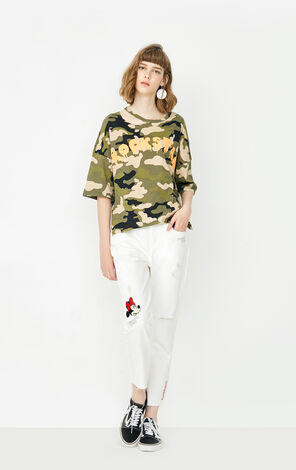 ONLY summer New Women's Loose Fit Printed Camouflage 3/4 Sleeves T-shirt|117330525