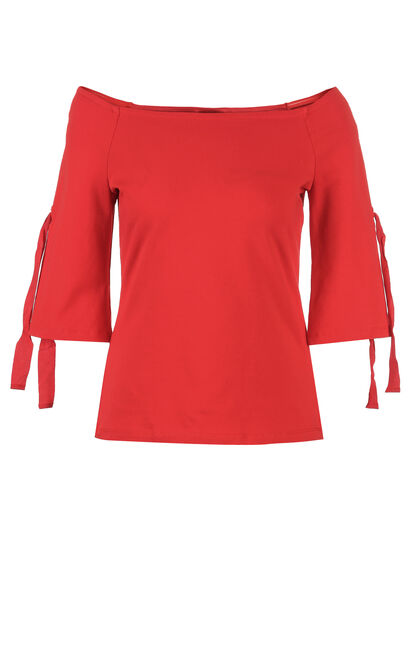 ONLY summer Women's Off-the-shoulder Slim Fit Elbow Sleeves T-shirt|117230505, Red, large