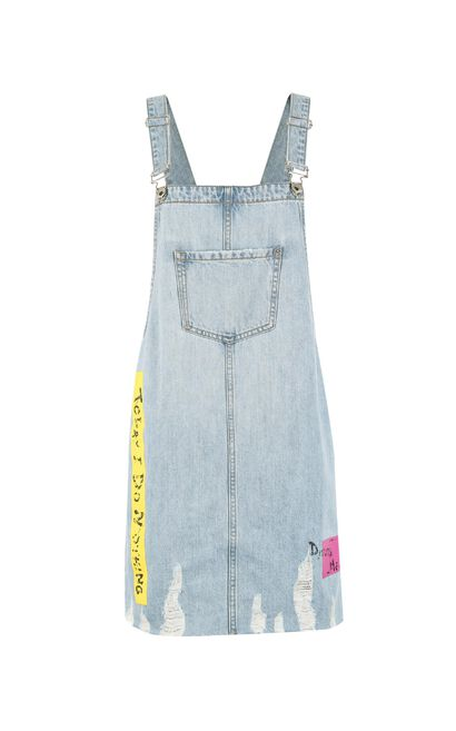 ONLY Spring 100% Cotton Letter Print Frayed Raw-edge Denim Overalls |117242505, Light blue, large