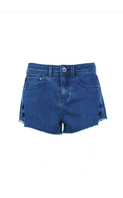 ONLY Summer New Women's Cross-over Trims Raw-edge Denim Shorts|117243531, Blue, large