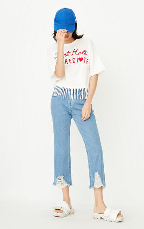 ONLY Women's Summer Loose Fit Letter Embroidery Fringed T-shirt |117301568
