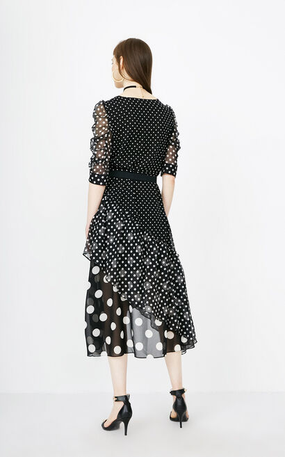 ONLY Summer V-neckline Polka Dot Chiffon Dress |118107680, Black, large