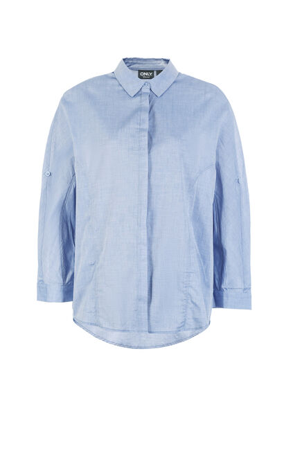 ONLY Women's Spring & Summer Loose Fit Adjustable 3/4 Sleeves Shirt  118105517, Blue, large