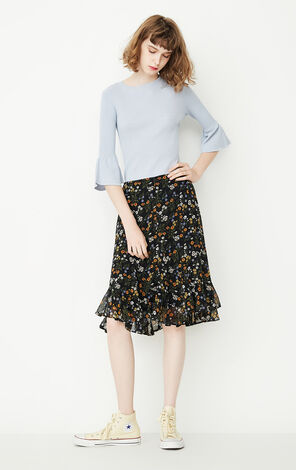 ONLY Summer A-line Ruffled Floral Skirt |117307578