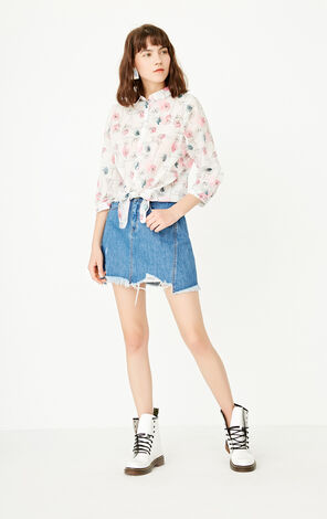 ONLY Summer Women's Loose Fit Printed Lace-up Shirt|117204509