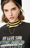 ONLY Women's Spring & Summer 100% Cotton Chain Print Loose Fit T-shirt |118101608, Black, large