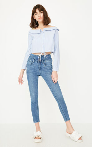 ONLY Women's Summer Three-button High-rise Crop Jeans |117249537