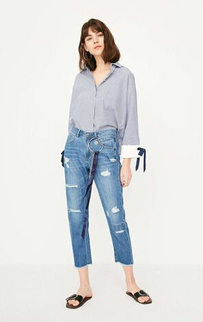 ONLY Summer New Women's Frayed Raw-edge Crop Jeans|117249507
