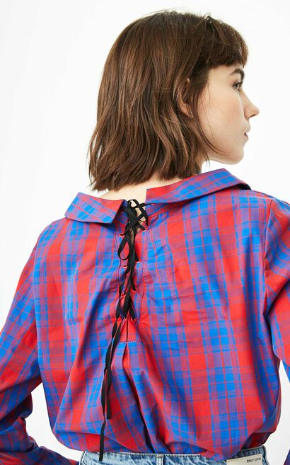 Only Women's 100% Cotton Lace-up Ruffled Plaid Shirt |118105536, Blue, large