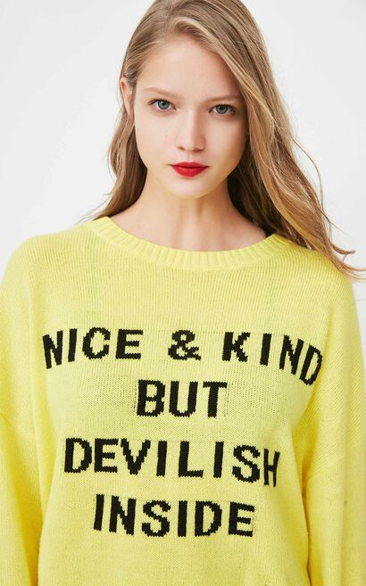 ONLY2019 Women's Winter Letter Pattern Knit Sweater |118124528, Yellow, large