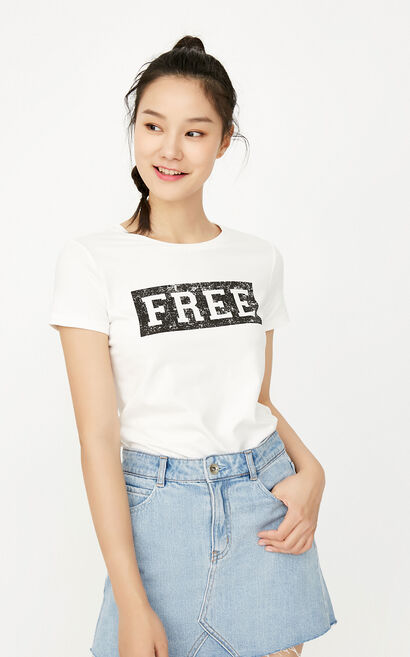 ONLY Women's Summer Round Neckline Letter Print Short-sleeved T-shirt |117301569, White, large