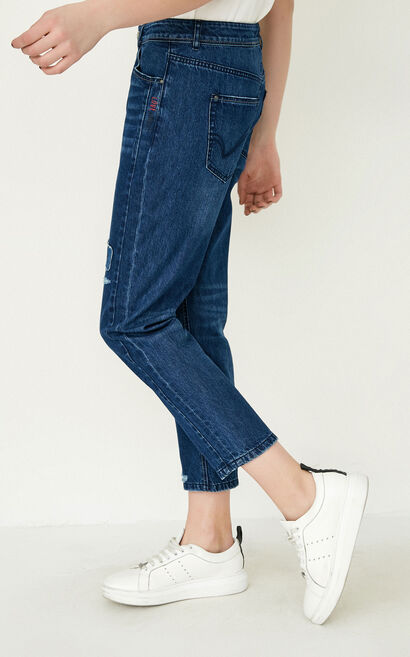 ONLY Women's Spring Letter Print Rips Crop Jeans |117149565, Blue Gray, large