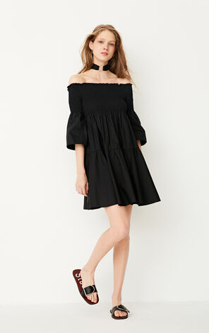 ONLY Spring 100% Cotton Flared Sleeves Boat Neck Dress|117207526