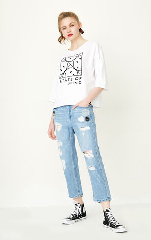 ONLY Women's Summer Raw-edge BF Style Crop Jeans |11726I505