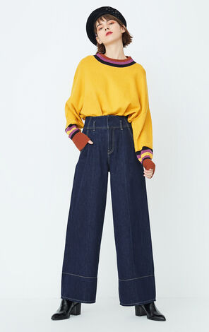 ONLY Women's Summer Contrasting High-rise Wide-leg Jeans  117332516