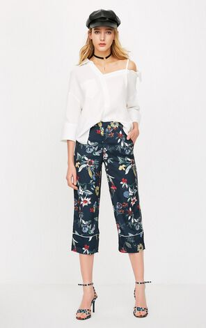 ONLY Women's Spring & Summer Floral Wide-leg Casual Crop Pants |11816J528