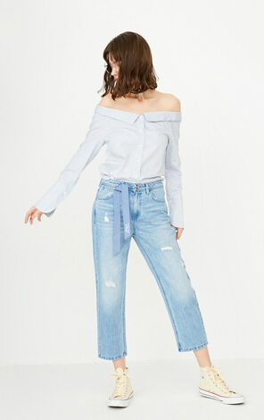 ONLY Women's Summer Frayed BF Style Crop Jeans |117249555