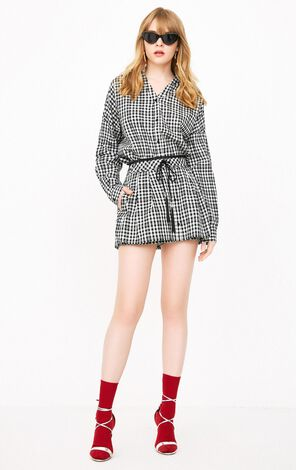 ONLY2019 women's summer new plaid V-neck slit two-piece shorts | 118178506