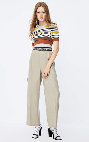 ONLY 2019 AutumnWomen's Slim Fit Contrasting Stripes Short-sleeved Thin Knit|119324520