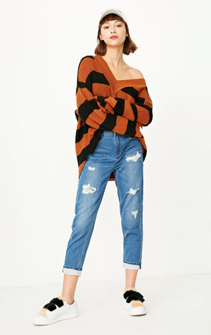 ONLY Women's Summer Rip BF Style Straight Fit Crop Jeans |117349638