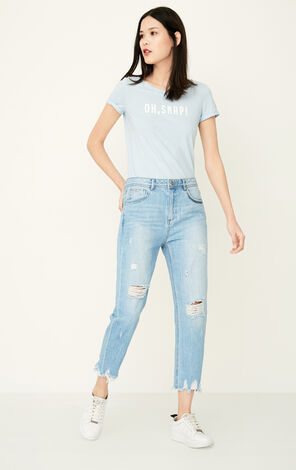 ONLY Spring New Women's 100% Cotton Ripped Raw-edge Crop Jeans|117249532