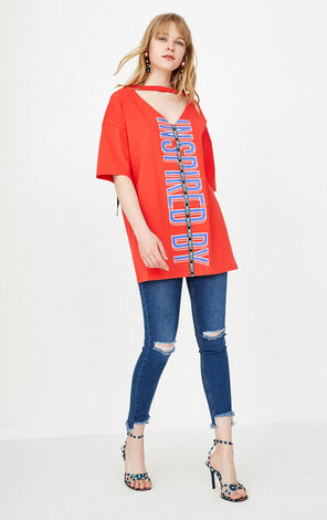 ONLY Women's Summer Reversible Letter Print Loose Fit T-shirt |118101535
