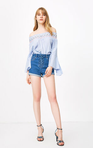 ONLY 2018 summer women's  new trumpet sleeves word shoulder vertical stripes shirt | 118258504