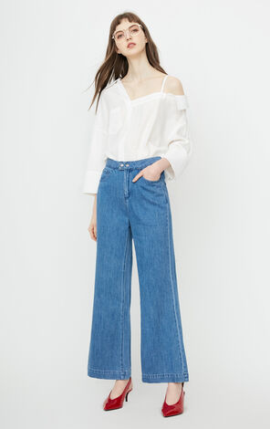 ONLY autumn new white high waist nine points flared jeans women 11826I503